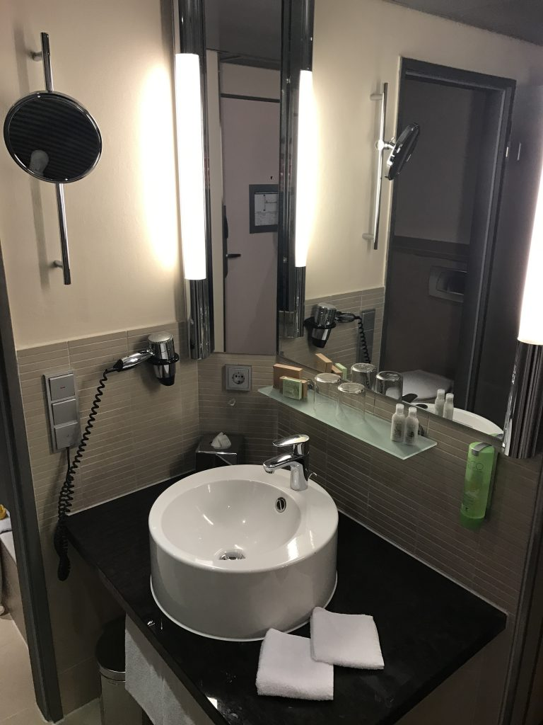 Vanity outside of bathroom
