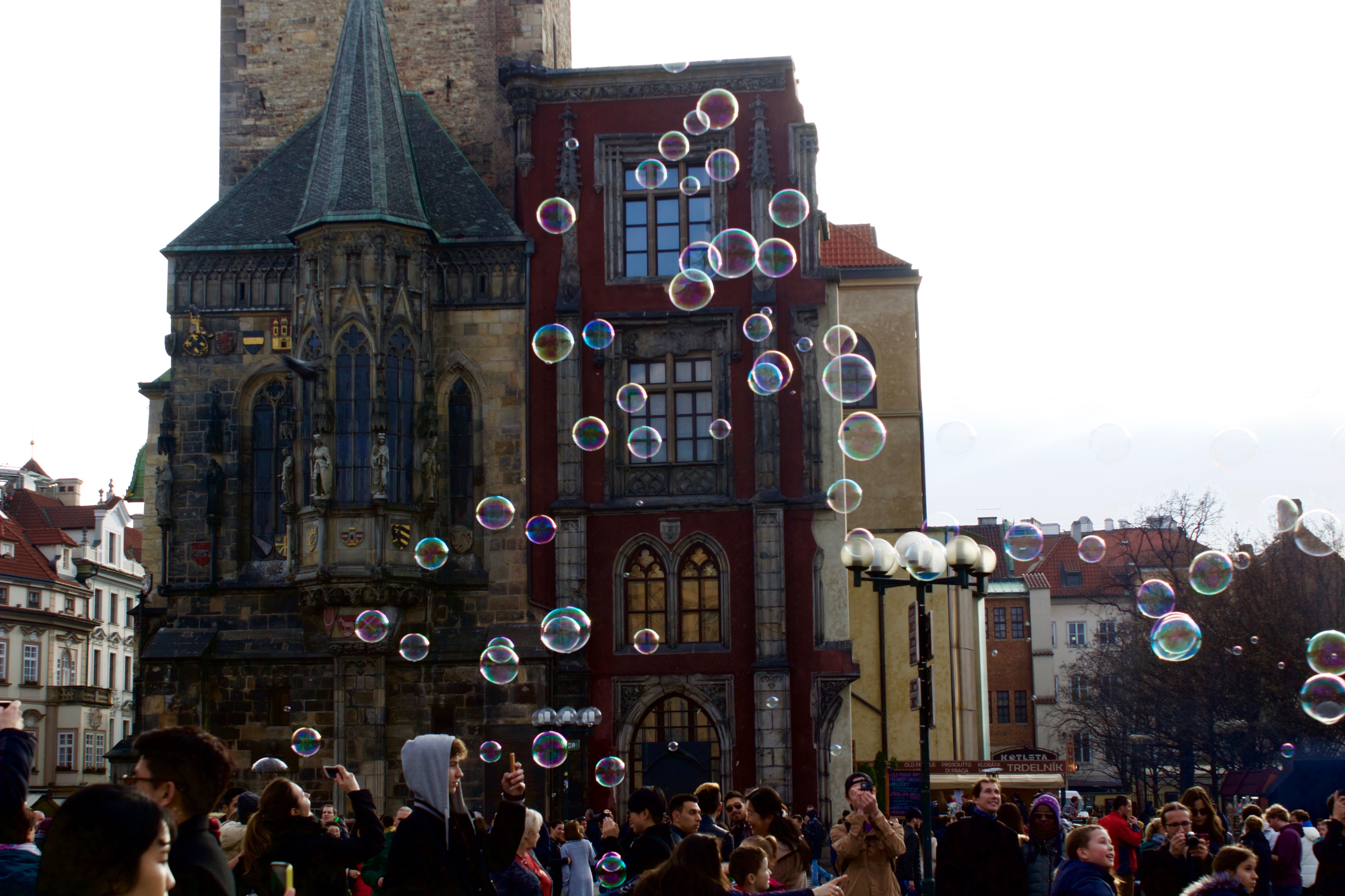 Prague bubbles in old town square