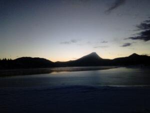 Estes Park lake at sunrise, dawn